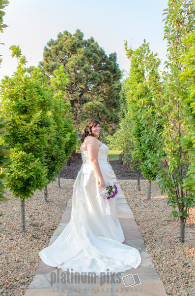 Bride Standing in Trees